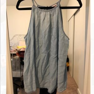 High neck chambray tank top